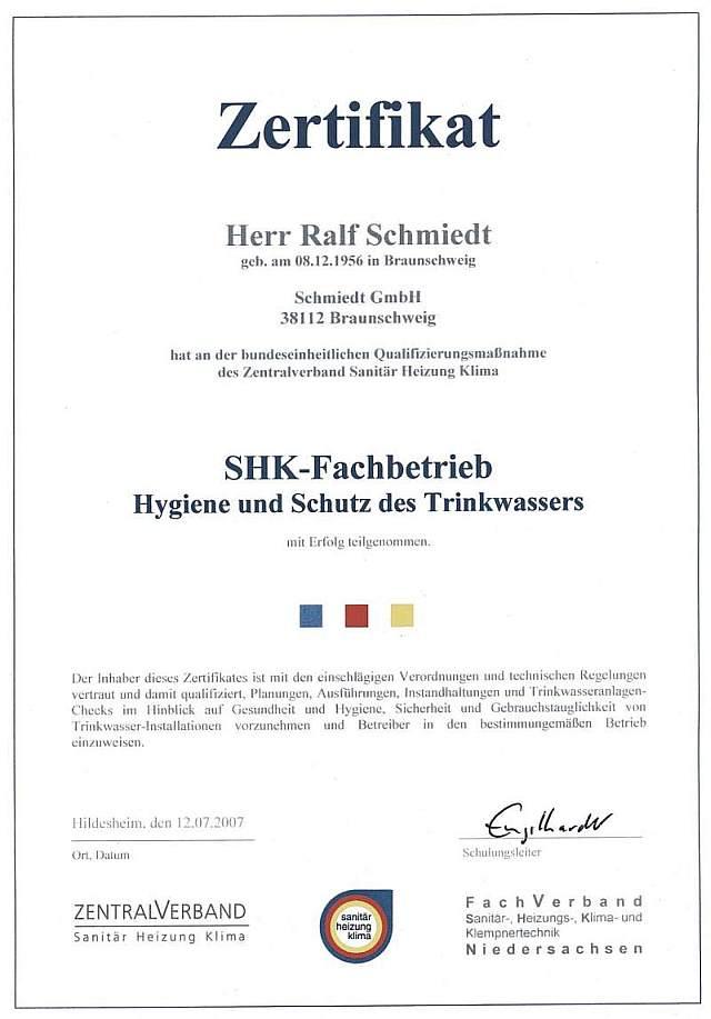 Zertifikat Ralf Schmiedt Trinkwasser-Check Wasser-Check