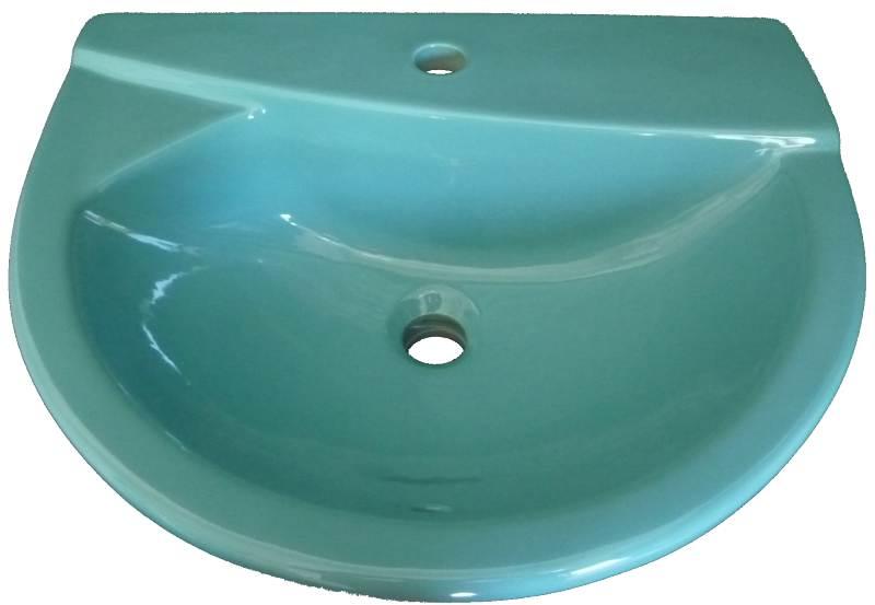 Helios-Einbau-Waschbecken 56cm in Auslauffarbe calypso