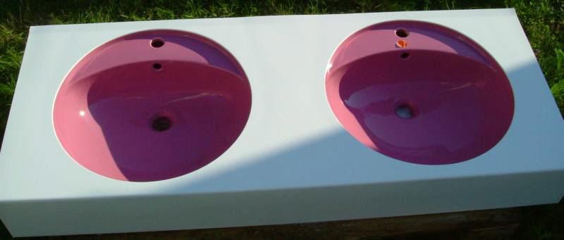 Doppel-Waschtisch 140 cm Keramag Flieder-in-weißem-Guß