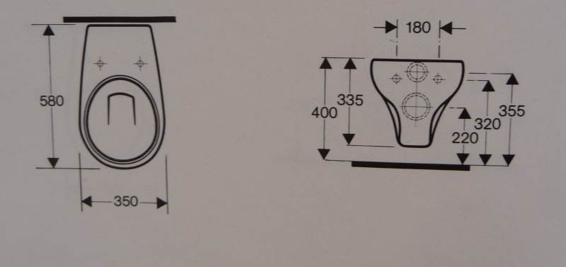 Wand-WC Keramag Bonn curry 204600 Maß Zeichung