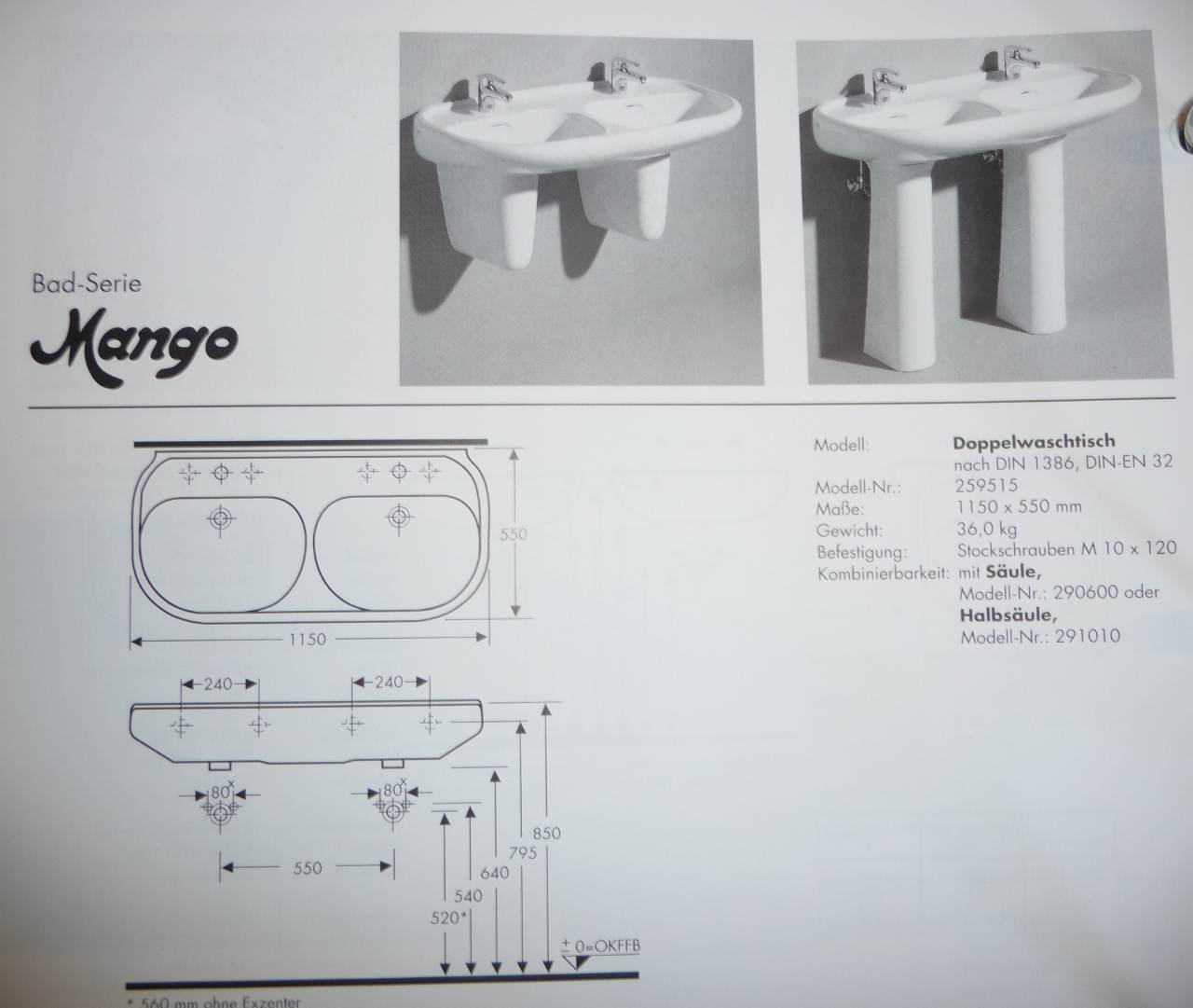 bahamabeige Doppel-Waschtisch 115x55 cm Keramag Mango 259515 Bild 3 Maße
