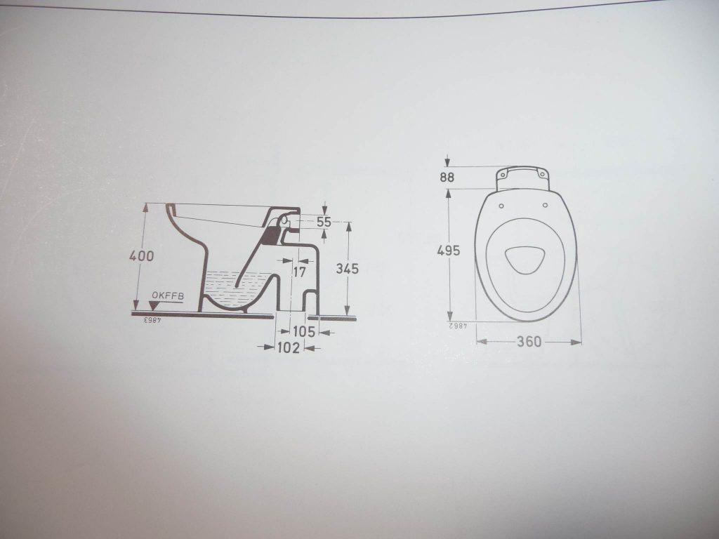 Maße Zeichnung Ideal Standard Ronarc Klosett